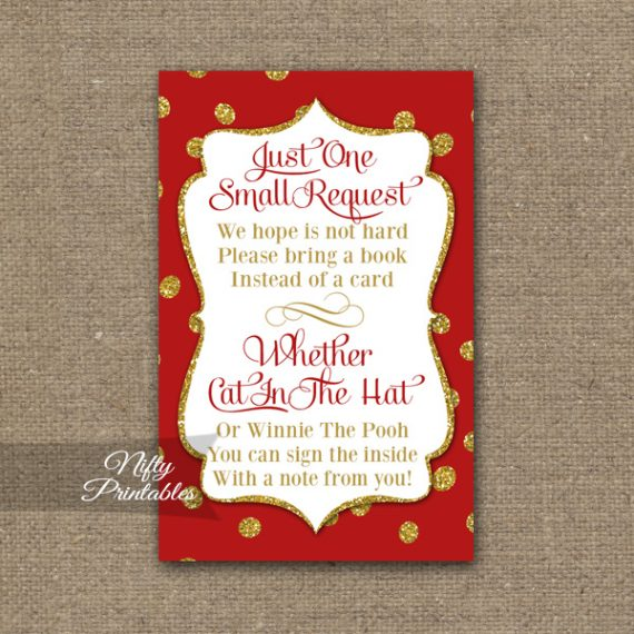 Bring A Book Baby Shower Insert - Red Gold Holiday