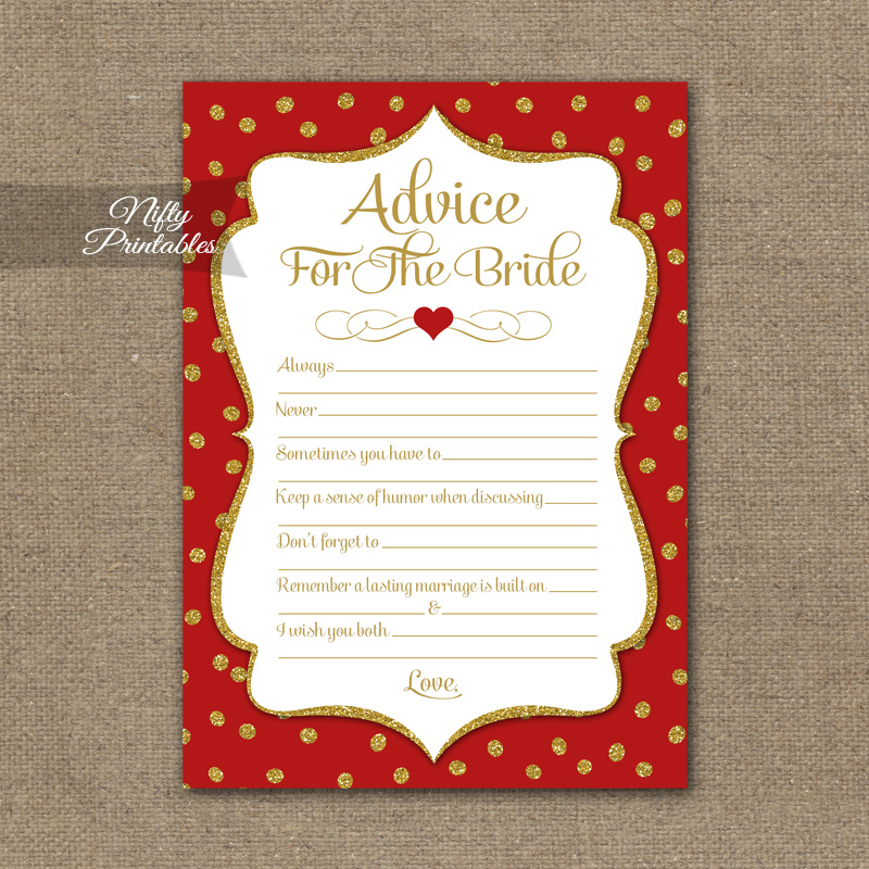 Bridal Shower Advice Cards - Red Gold Holiday