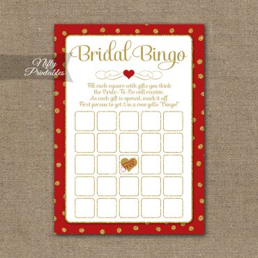 Bridal Shower Bingo Game - Red Gold Holiday