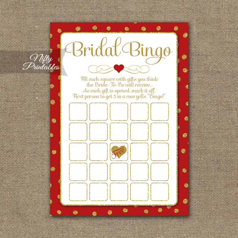 bridal shower bingo game red gold holiday