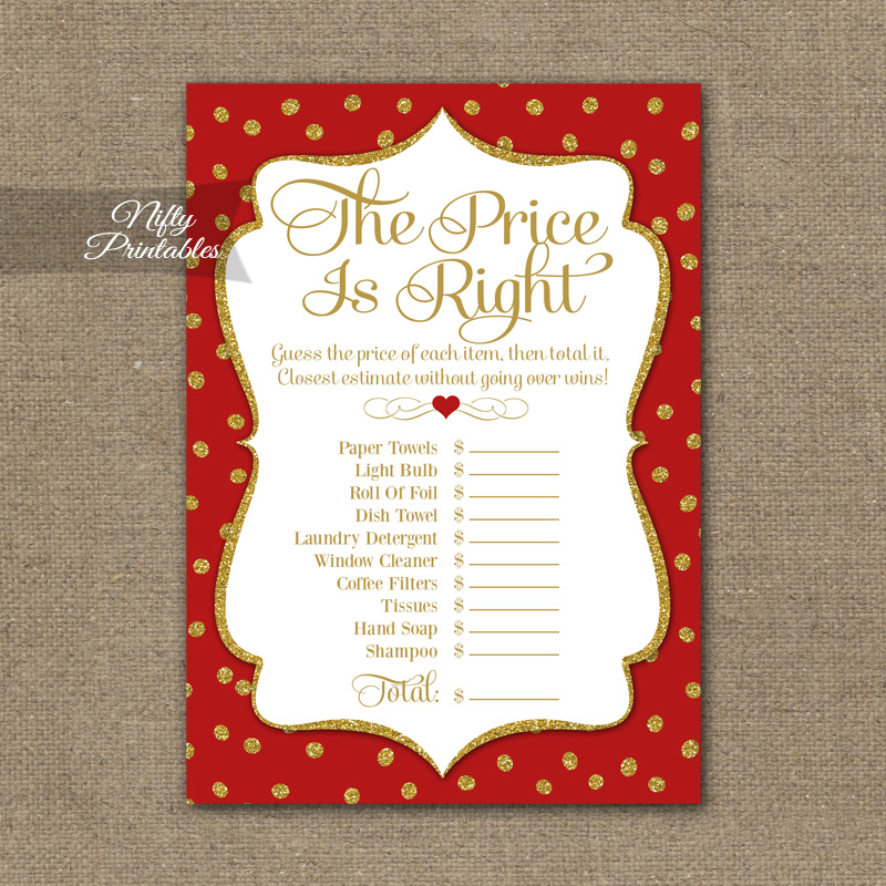 Price Is Right Bridal Shower Game - Red Gold Holiday