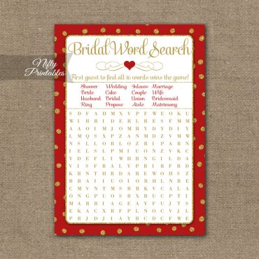 Bridal Shower Word Search Game - Red Gold Holiday