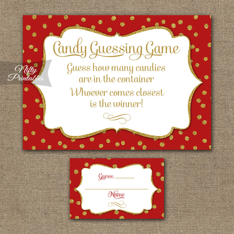 candy guessing game - red gold holiday