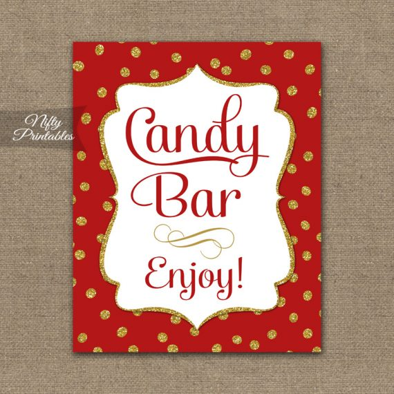 Candy Buffet Sign - Red Gold Holiday