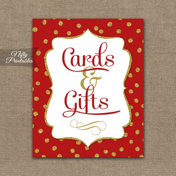 Cards & Gifts Sign - Red Gold Holiday