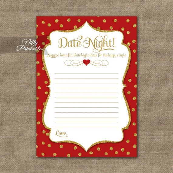Bridal Shower Date Night Ideas - Red Gold Holiday
