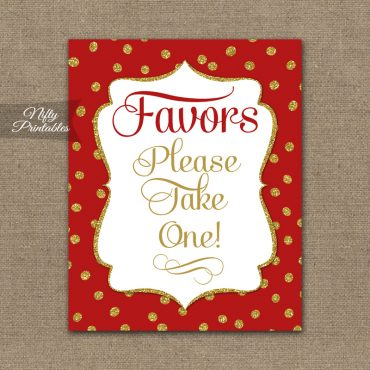 Favors Sign - Red Gold Holiday