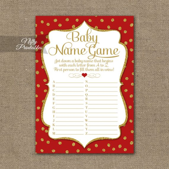 Name Game Baby Shower - Red Gold Holiday