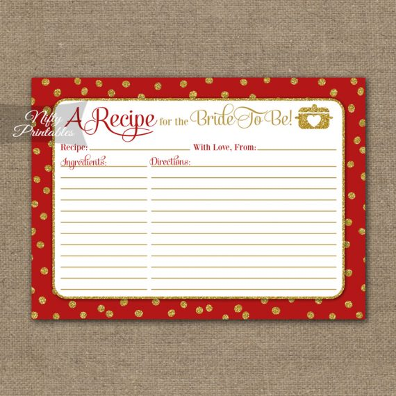 Bridal Shower Recipe Cards - Red Gold Holiday