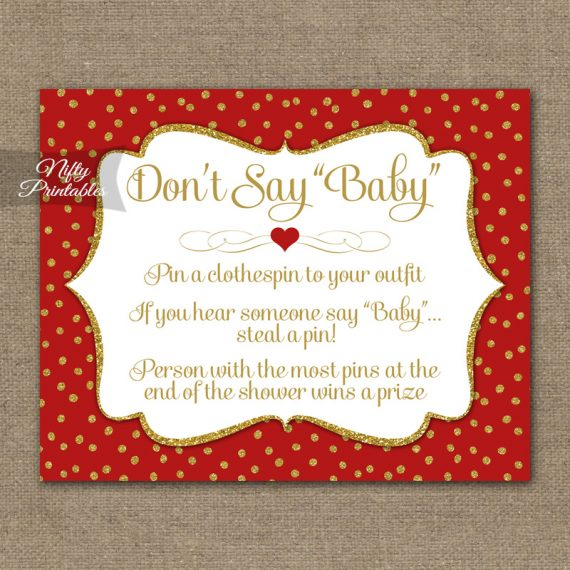 Don't Say Baby Shower Game - Red Gold Holiday