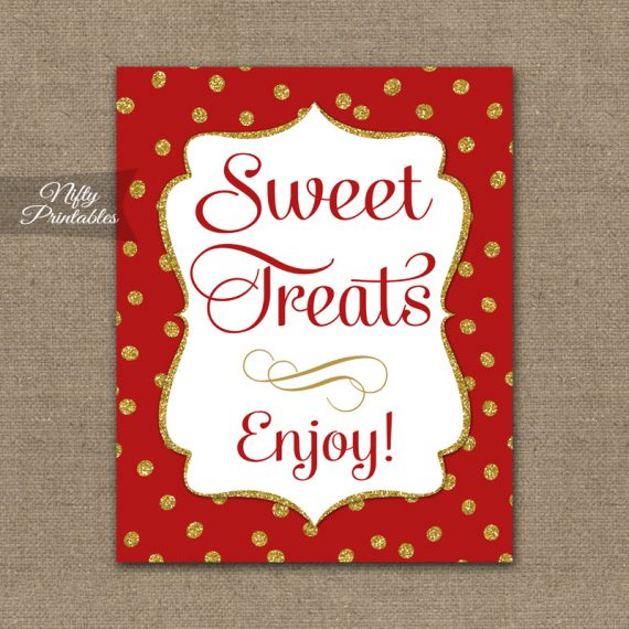 Sweet Treats Dessert Sign Red Gold Holiday Nifty