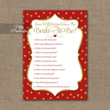 How Well Do You Know The Bride - Red Gold Holiday