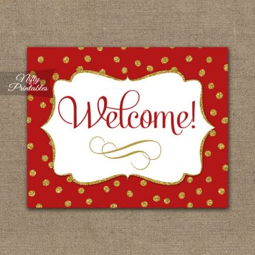 Welcome Sign - Red Gold Holiday