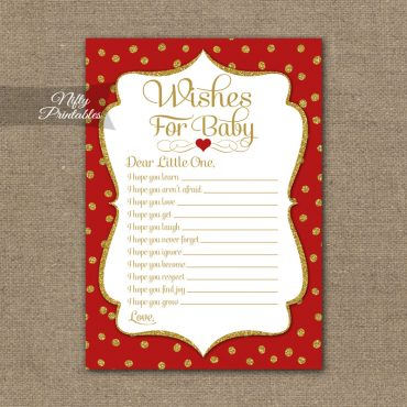Wishes For Baby Shower Game - Red Gold Holiday