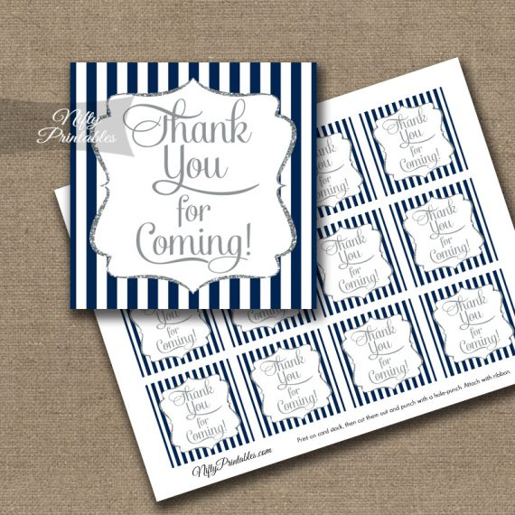 Thank You For Coming Tags - Navy Blue Silver