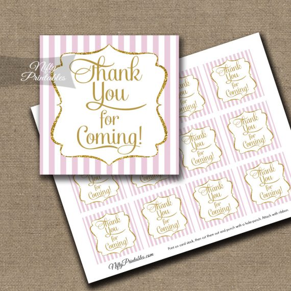Thank You For Coming Tags - Pink Gold