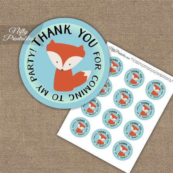 Thank You For Coming Favor Tags - Fox