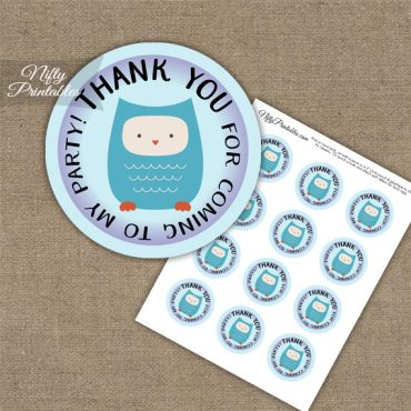 Thank You For Coming Favor Tags - Owl