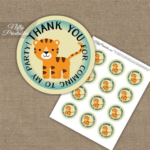 Thank You For Coming Favor Tags - Tiger