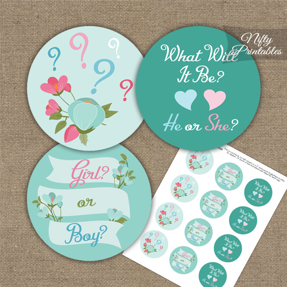 Gender Reveal Toppers - Aqua Floral
