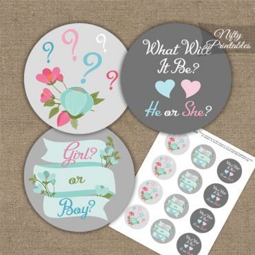 Gender Reveal Toppers - Gray Floral