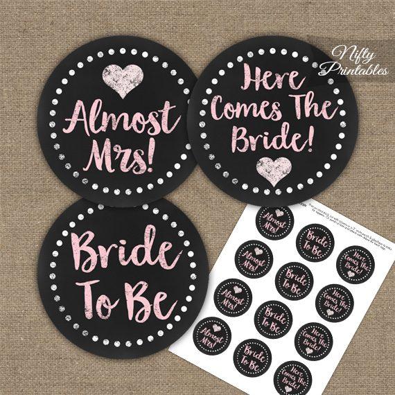 Bridal Shower Toppers - Pink Chalkboard