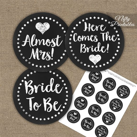 Bridal Shower Toppers - White Chalkboard