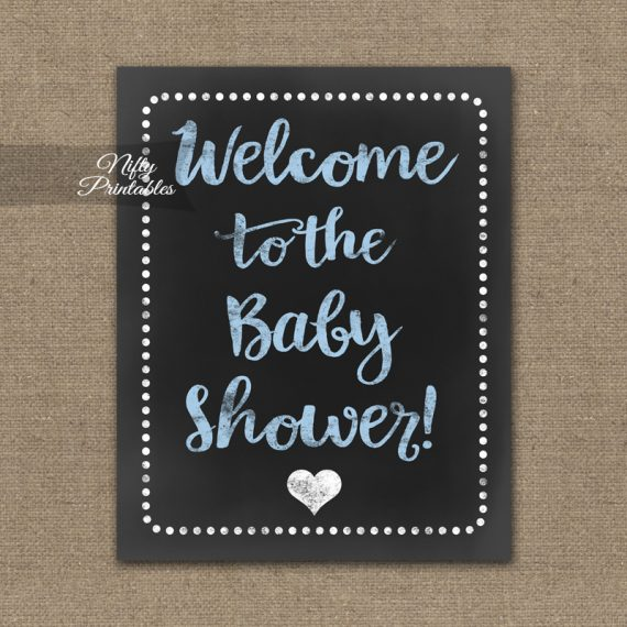 Baby Shower Welcome Sign - Blue Chalkboard