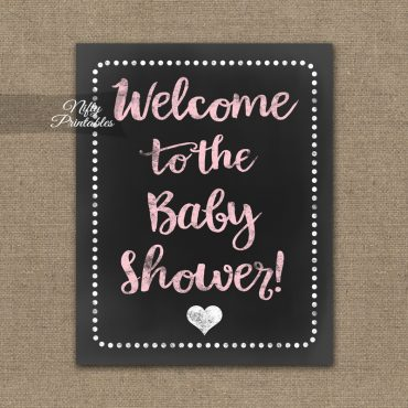 Baby Shower Welcome Sign - Pink Chalkboard