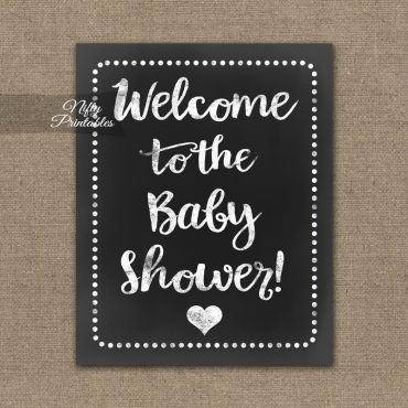 Baby Shower Welcome Sign - White Chalkboard