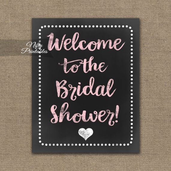 Bridal Shower Welcome Sign - Pink Chalkboard