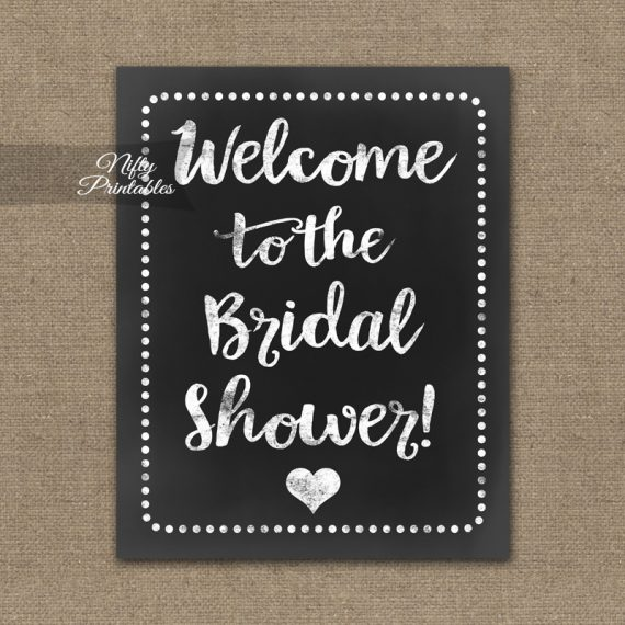 Bridal Shower Welcome Sign - White Chalkboard