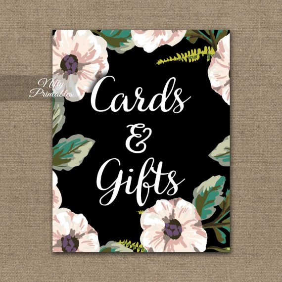 Cards & Gifts Sign - Black White Floral