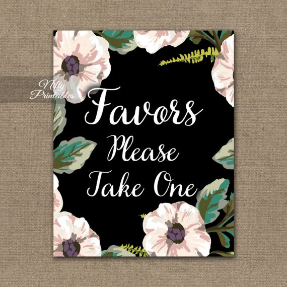 Favors Sign - Black White Floral