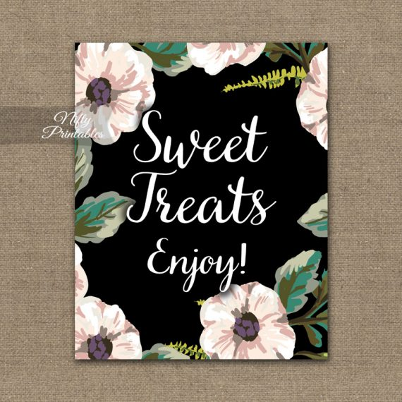 Sweet Treats Dessert Sign - Black White Floral