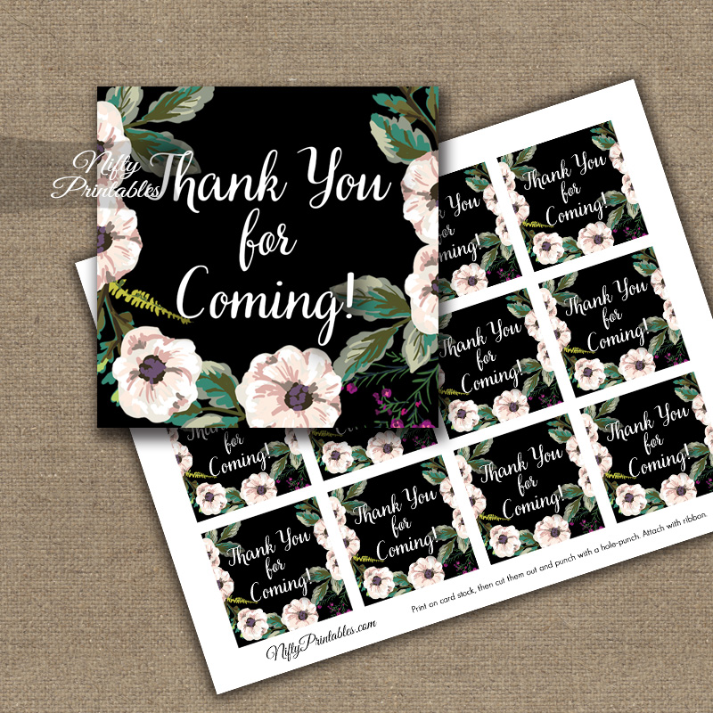 Thank You For Coming Tags - Black White Floral