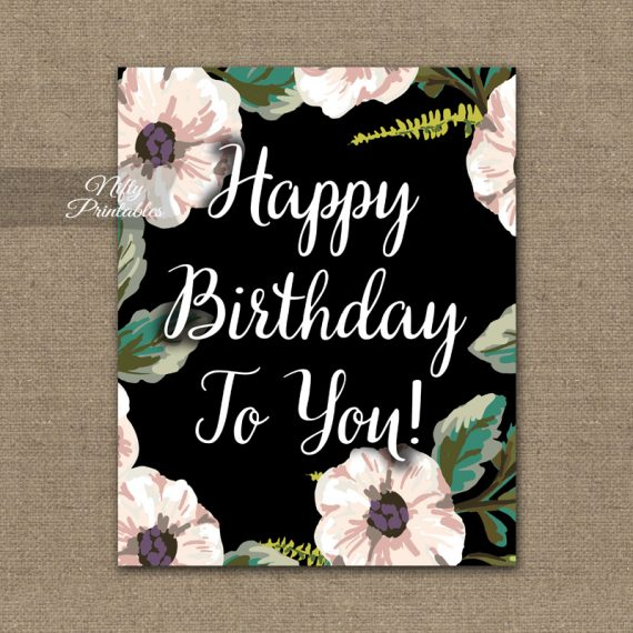 Birthday Sign - White Floral
