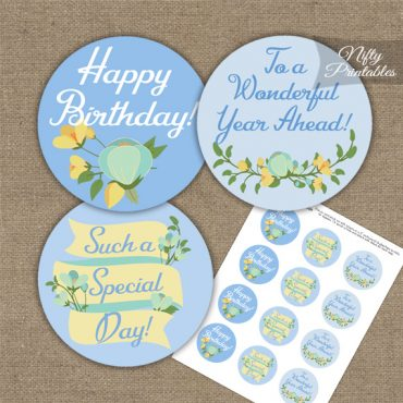Happy Birthday Cupcake Toppers - Blue Yellow Floral