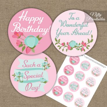 Happy Birthday Cupcake Toppers - Pink Mint Floral
