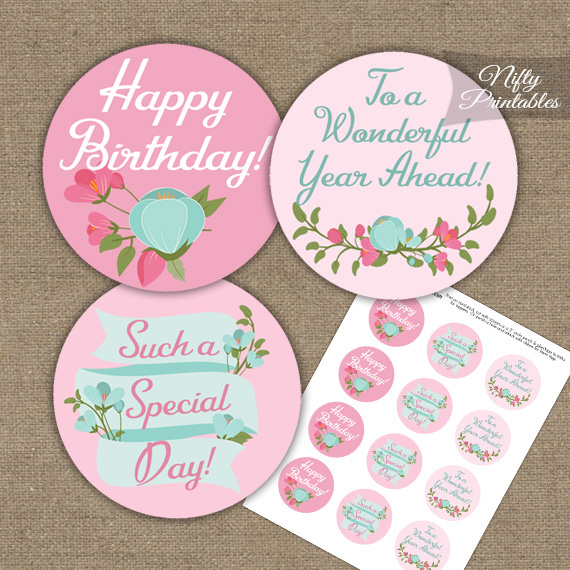 Happy Birthday Cupcake Toppers Pink Mint Floral Nifty Printables