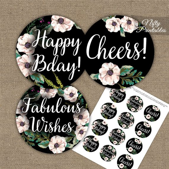 Happy Birthday Cupcake Toppers - Black White Floral
