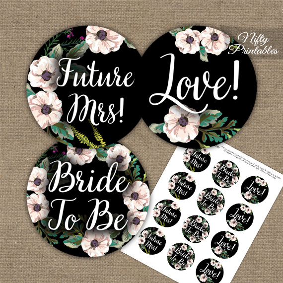 Bridal Shower Toppers - Black White Floral