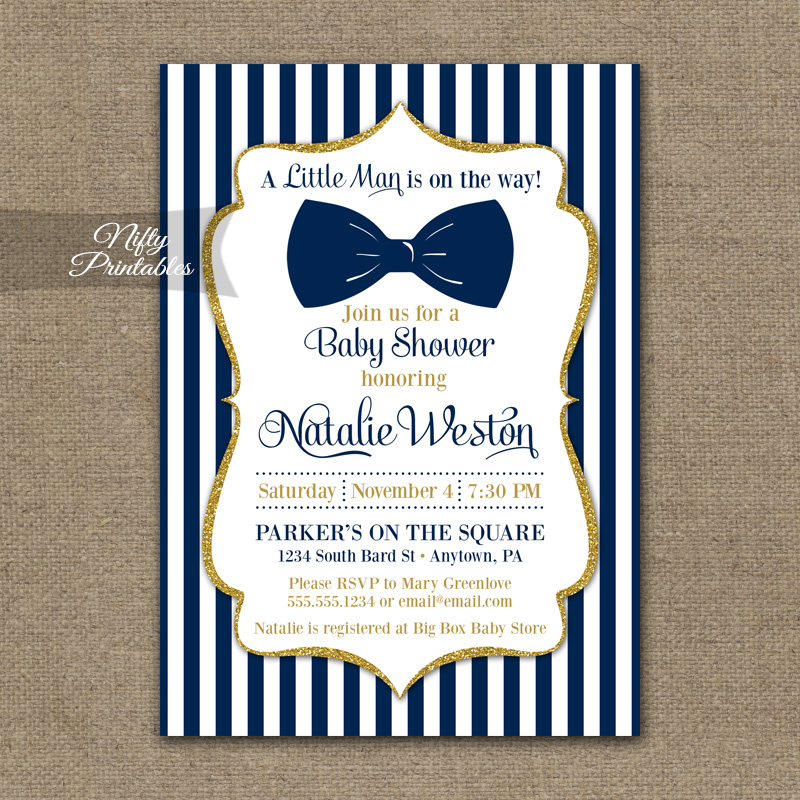 Bow Tie Baby Shower Invitations Navy Blue Gold Nifty Printables