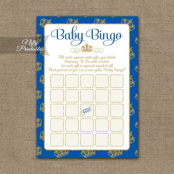 Baby Shower Bingo Game - Royal Baby Shower