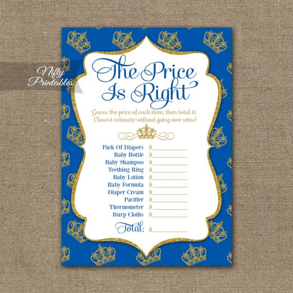 Price Is Right Baby Shower Game - Royal Baby Shower