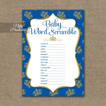Baby Shower Word Scramble Game - Royal Baby Shower
