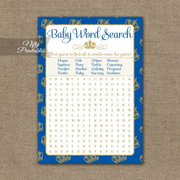 Baby Shower Word Search Game - Royal Baby Shower