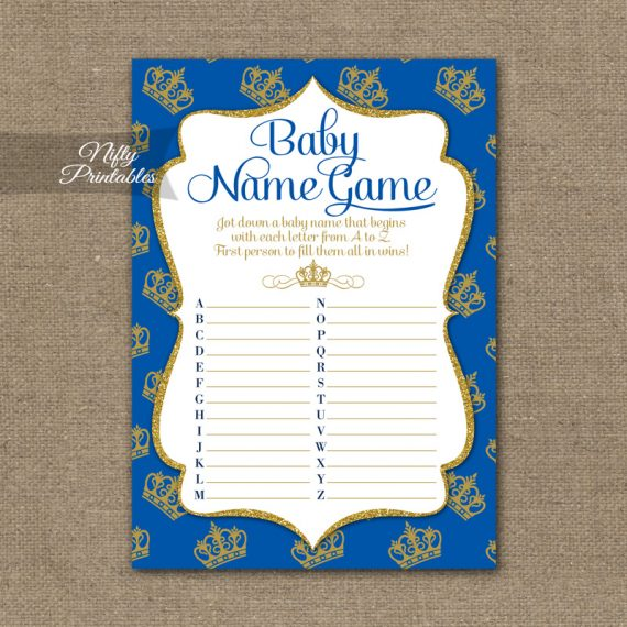 Name Game Baby Shower - Royal Baby Shower