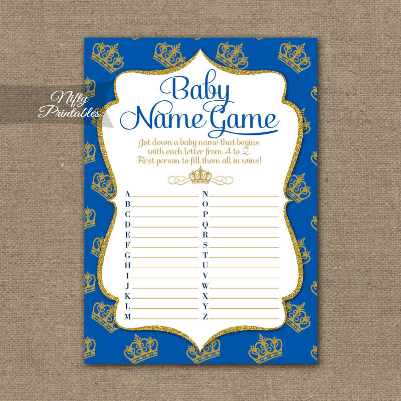 Name Game Baby Shower - Royal Baby Shower - Nifty Printables