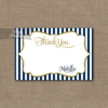 Navy Gold Bridal Shower Invitations